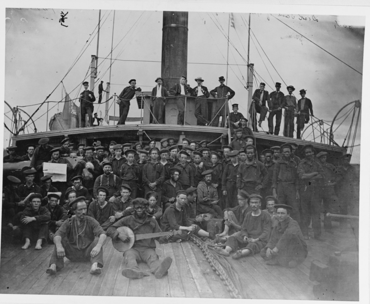 Officers and crew on the USS Hunchback, 1864-1865